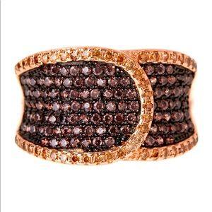 Tiara 14K Rose Gold Chocolate Swirl Buckle Ring
